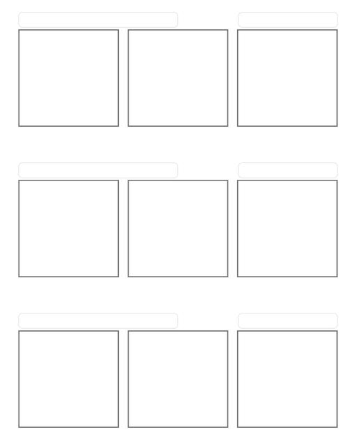 Comic strip template printables in PDF format for manga, newspaper or other styles. Panel 3 panel, 4 panel, 5 panel and more layouts in various styles, including with speech bubbles. 3 Panel Triple With Title