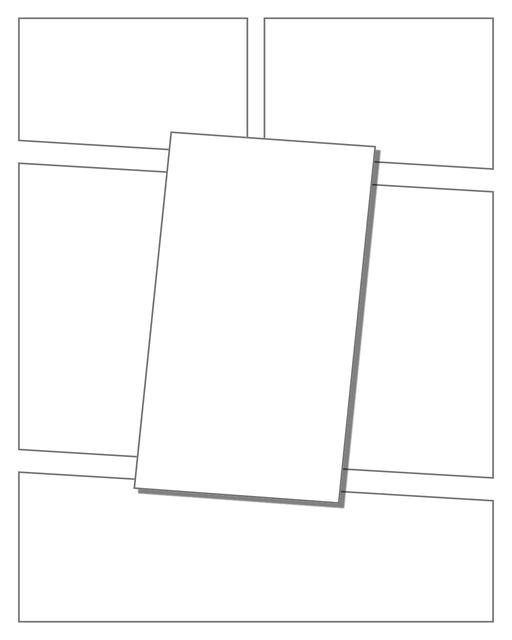 Comic strip template printables in PDF format for manga, newspaper or other styles. Panel 3 panel, 4 panel, 5 panel and more layouts in various styles, including with speech bubbles. 3d Effects Panels 6 Panel V2