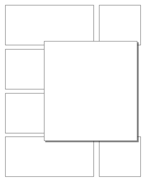 Comic strip template printables in PDF format for manga, newspaper or other styles. Panel 3 panel, 4 panel, 5 panel and more layouts in various styles, including with speech bubbles. 3d Effects Panels 7 Panel