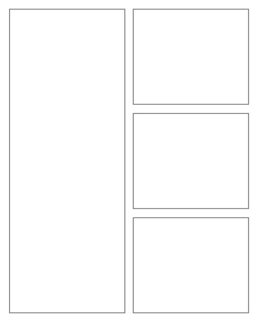 Comic strip template printables in PDF format for manga, newspaper or other styles. Panel 3 panel, 4 panel, 5 panel and more layouts in various styles, including with speech bubbles. 4 Panel 4 Panel