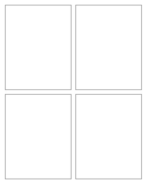 Comic strip template printables in PDF format for manga, newspaper or other styles. Panel 3 panel, 4 panel, 5 panel and more layouts in various styles, including with speech bubbles. 4 Panel Cross