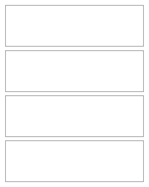 Comic strip template printables in PDF format for manga, newspaper or other styles. Panel 3 panel, 4 panel, 5 panel and more layouts in various styles, including with speech bubbles. 4 Panel Wide