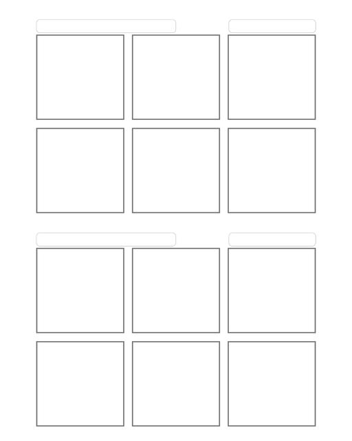 Comic strip template printables in PDF format for manga, newspaper or other styles. Panel 3 panel, 4 panel, 5 panel and more layouts in various styles, including with speech bubbles. 6 Panel 2 Up With Title
