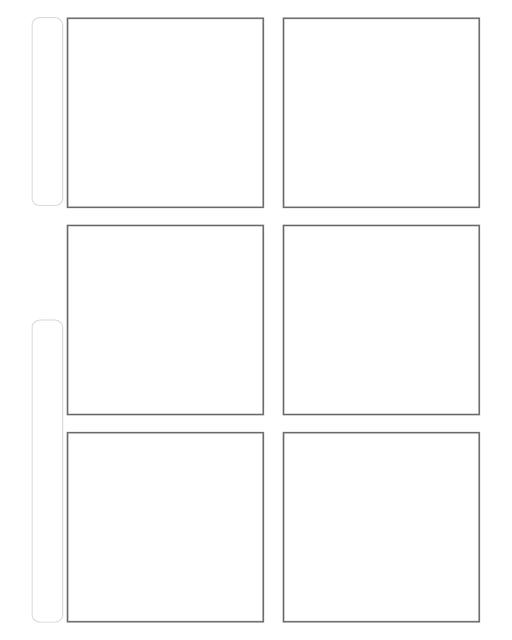 Comic strip template printables in PDF format for manga, newspaper or other styles. Panel 3 panel, 4 panel, 5 panel and more layouts in various styles, including with speech bubbles. 6 Panel Horizontal With Title