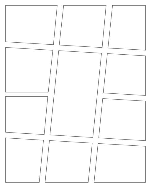 Comic strip template printables in PDF format for manga, newspaper or other styles. Panel 3 panel, 4 panel, 5 panel and more layouts in various styles, including with speech bubbles. Angled Panels 11 Panels