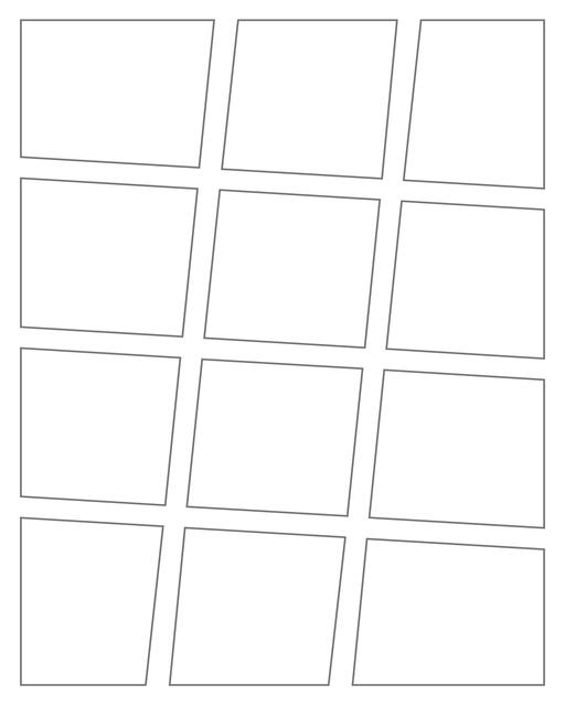 Comic strip template printables in PDF format for manga, newspaper or other styles. Panel 3 panel, 4 panel, 5 panel and more layouts in various styles, including with speech bubbles. Angled Panels 12 Panels