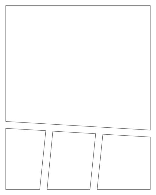Comic strip template printables in PDF format for manga, newspaper or other styles. Panel 3 panel, 4 panel, 5 panel and more layouts in various styles, including with speech bubbles. Angled Panels 4 Panels