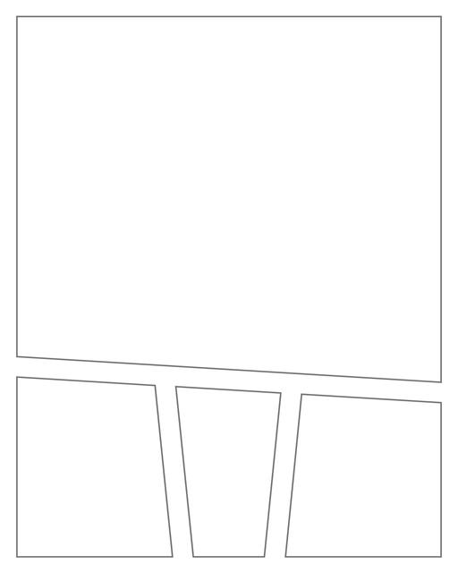 Comic strip template printables in PDF format for manga, newspaper or other styles. Panel 3 panel, 4 panel, 5 panel and more layouts in various styles, including with speech bubbles. Angled Panels 4 Panels V2