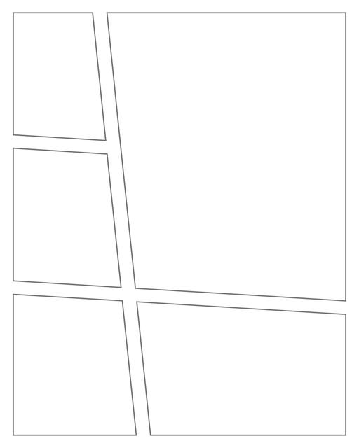 Comic strip template printables in PDF format for manga, newspaper or other styles. Panel 3 panel, 4 panel, 5 panel and more layouts in various styles, including with speech bubbles. Angled Panels 5 Panels V3