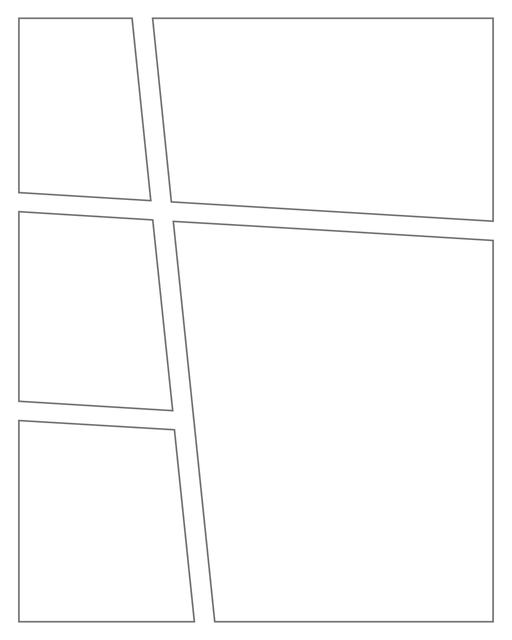 Comic strip template printables in PDF format for manga, newspaper or other styles. Panel 3 panel, 4 panel, 5 panel and more layouts in various styles, including with speech bubbles. Angled Panels 5 Panels V4