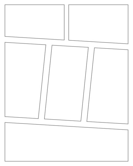 Comic strip template printables in PDF format for manga, newspaper or other styles. Panel 3 panel, 4 panel, 5 panel and more layouts in various styles, including with speech bubbles. Angled Panels 6 Panels