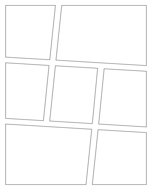 Comic strip template printables in PDF format for manga, newspaper or other styles. Panel 3 panel, 4 panel, 5 panel and more layouts in various styles, including with speech bubbles. Angled Panels 7 Panels