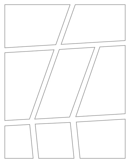 Comic strip template printables in PDF format for manga, newspaper or other styles. Panel 3 panel, 4 panel, 5 panel and more layouts in various styles, including with speech bubbles. Angled Panels 8 Panels