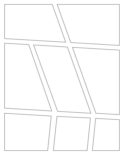 Comic strip template printables in PDF format for manga, newspaper or other styles. Panel 3 panel, 4 panel, 5 panel and more layouts in various styles, including with speech bubbles. Angled Panels 8 Panels V2