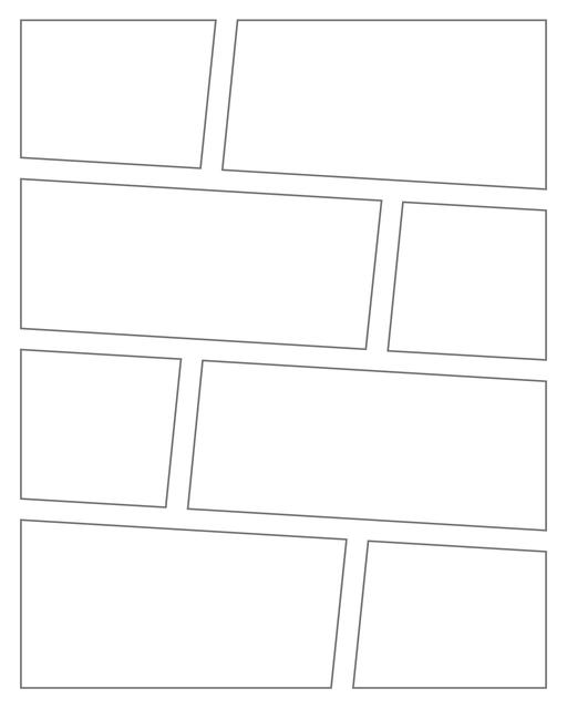 Comic strip template printables in PDF format for manga, newspaper or other styles. Panel 3 panel, 4 panel, 5 panel and more layouts in various styles, including with speech bubbles. Angled Panels 8 Panels V3