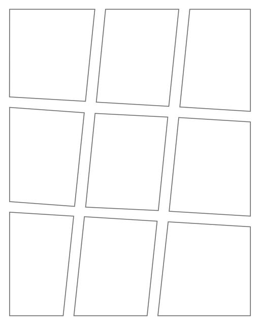 Comic strip template printables in PDF format for manga, newspaper or other styles. Panel 3 panel, 4 panel, 5 panel and more layouts in various styles, including with speech bubbles. Angled Panels 9 Panels