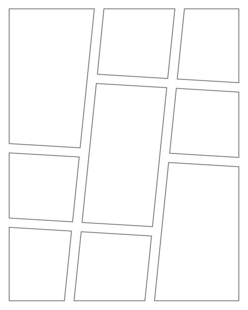 Comic strip template printables in PDF format for manga, newspaper or other styles. Panel 3 panel, 4 panel, 5 panel and more layouts in various styles, including with speech bubbles. Angled Panels 9 Panels V2