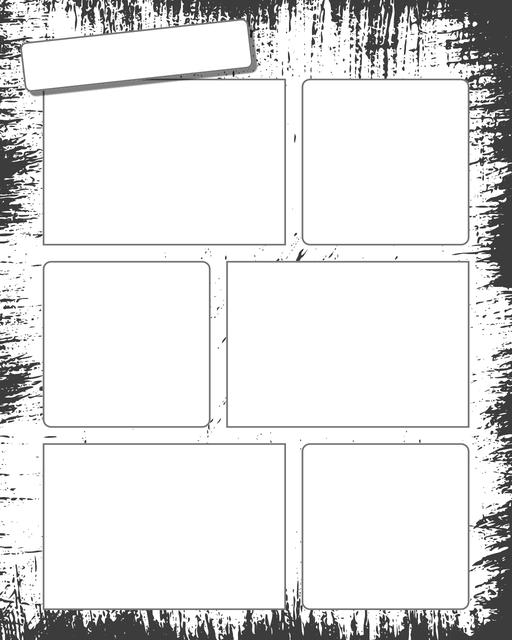 Comic strip template printables in PDF format for manga, newspaper or other styles. Panel 3 panel, 4 panel, 5 panel and more layouts in various styles, including with speech bubbles. Background Dirty 6 Panel
