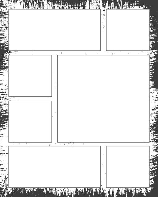 Comic strip template printables in PDF format for manga, newspaper or other styles. Panel 3 panel, 4 panel, 5 panel and more layouts in various styles, including with speech bubbles. Background Dirty 7 Panel