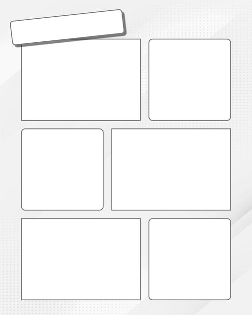 Comic strip template printables in PDF format for manga, newspaper or other styles. Panel 3 panel, 4 panel, 5 panel and more layouts in various styles, including with speech bubbles. Background Dots 6 Panel