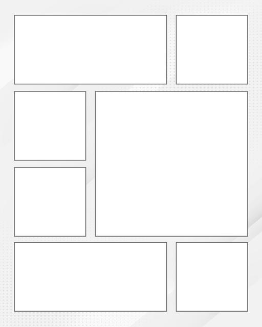 Comic strip template printables in PDF format for manga, newspaper or other styles. Panel 3 panel, 4 panel, 5 panel and more layouts in various styles, including with speech bubbles. Background Dots 7 Panel