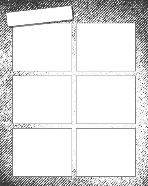 Comic strip template printables in PDF format for manga, newspaper or other styles. Panel 3 panel, 4 panel, 5 panel and more layouts in various styles, including with speech bubbles. Background Grunge 6 Panel V2