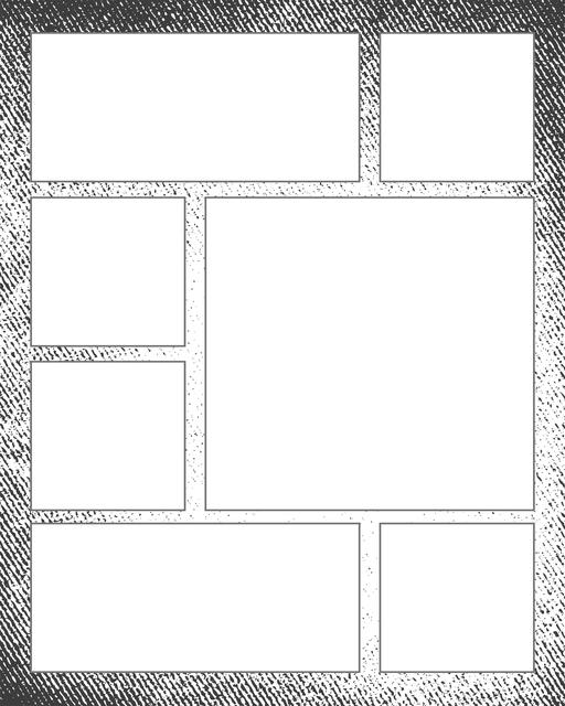 Comic strip template printables in PDF format for manga, newspaper or other styles. Panel 3 panel, 4 panel, 5 panel and more layouts in various styles, including with speech bubbles. Background Grunge 7 Panel