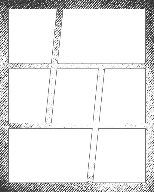 Comic strip template printables in PDF format for manga, newspaper or other styles. Panel 3 panel, 4 panel, 5 panel and more layouts in various styles, including with speech bubbles. Background Grunge 7 Panel V2