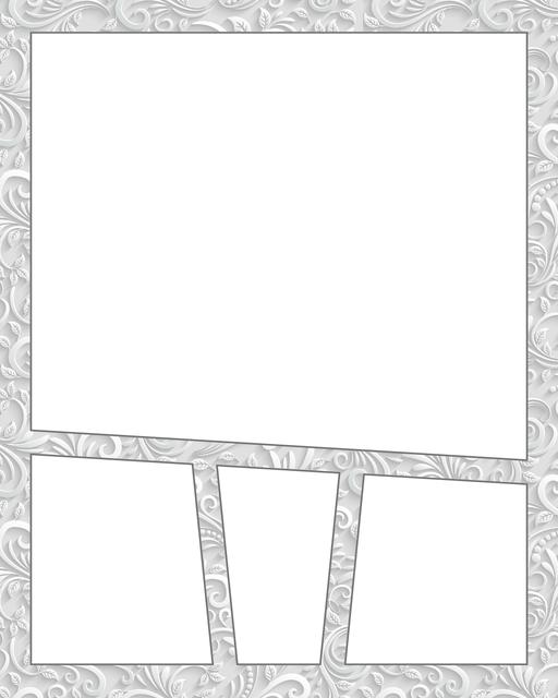 Comic strip template printables in PDF format for manga, newspaper or other styles. Panel 3 panel, 4 panel, 5 panel and more layouts in various styles, including with speech bubbles. Background Ornate 4 Panel