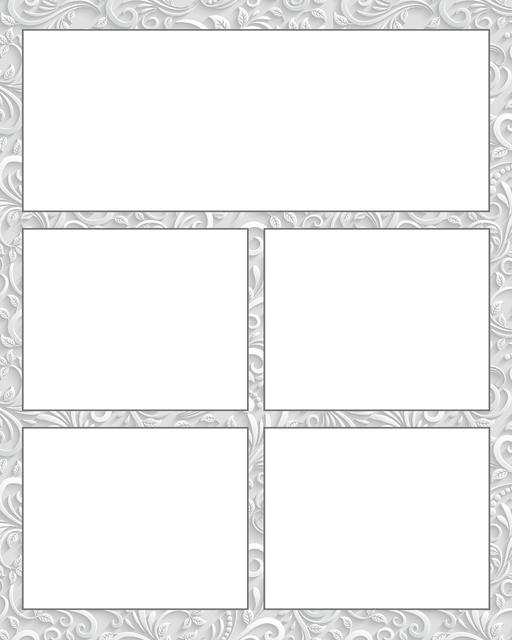 Comic strip template printables in PDF format for manga, newspaper or other styles. Panel 3 panel, 4 panel, 5 panel and more layouts in various styles, including with speech bubbles. Background Ornate 5 Panel