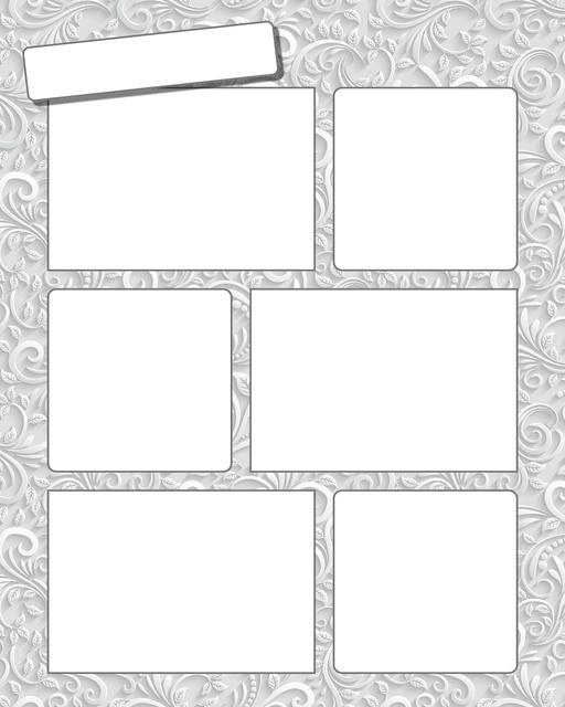 Comic strip template printables in PDF format for manga, newspaper or other styles. Panel 3 panel, 4 panel, 5 panel and more layouts in various styles, including with speech bubbles. Background Ornate 6 Panel