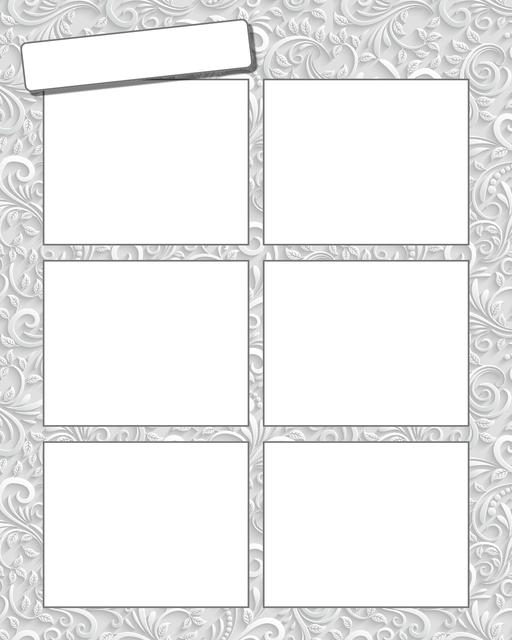 Comic strip template printables in PDF format for manga, newspaper or other styles. Panel 3 panel, 4 panel, 5 panel and more layouts in various styles, including with speech bubbles. Background Ornate 6 Panel V2