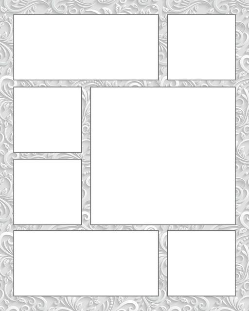 Comic strip template printables in PDF format for manga, newspaper or other styles. Panel 3 panel, 4 panel, 5 panel and more layouts in various styles, including with speech bubbles. Background Ornate 7 Panel