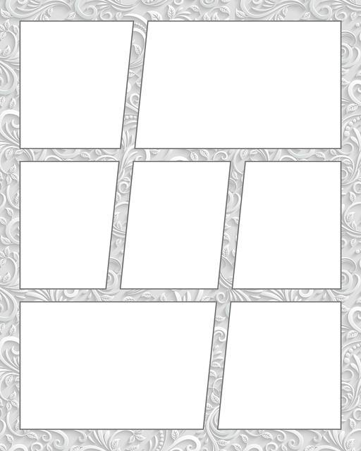 Comic strip template printables in PDF format for manga, newspaper or other styles. Panel 3 panel, 4 panel, 5 panel and more layouts in various styles, including with speech bubbles. Background Ornate 7 Panel V2
