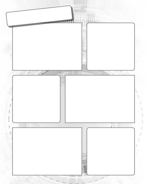 Comic strip template printables in PDF format for manga, newspaper or other styles. Panel 3 panel, 4 panel, 5 panel and more layouts in various styles, including with speech bubbles. Background Scifi 6 Panel
