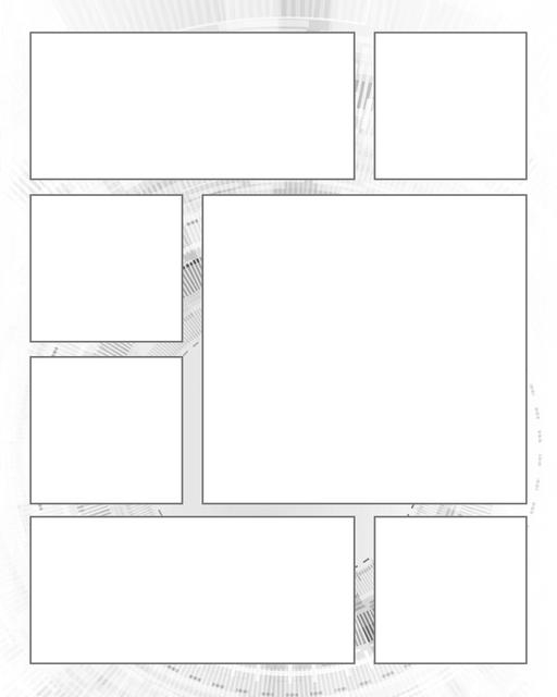 Comic strip template printables in PDF format for manga, newspaper or other styles. Panel 3 panel, 4 panel, 5 panel and more layouts in various styles, including with speech bubbles. Background Scifi 7 Panel