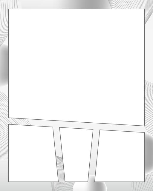 Comic strip template printables in PDF format for manga, newspaper or other styles. Panel 3 panel, 4 panel, 5 panel and more layouts in various styles, including with speech bubbles. Background Swirl 4 Panel