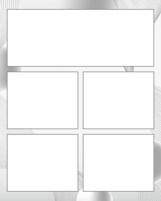 Comic strip template printables in PDF format for manga, newspaper or other styles. Panel 3 panel, 4 panel, 5 panel and more layouts in various styles, including with speech bubbles. Background Swirl 5 Panel