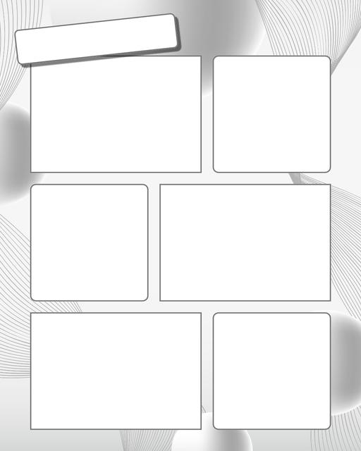 Comic strip template printables in PDF format for manga, newspaper or other styles. Panel 3 panel, 4 panel, 5 panel and more layouts in various styles, including with speech bubbles. Background Swirl 6 Panel