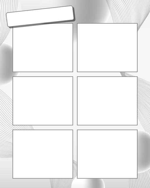 Comic strip template printables in PDF format for manga, newspaper or other styles. Panel 3 panel, 4 panel, 5 panel and more layouts in various styles, including with speech bubbles. Background Swirl 6 Panel V2