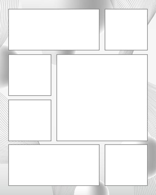 Comic strip template printables in PDF format for manga, newspaper or other styles. Panel 3 panel, 4 panel, 5 panel and more layouts in various styles, including with speech bubbles. Background Swirl 7 Panel