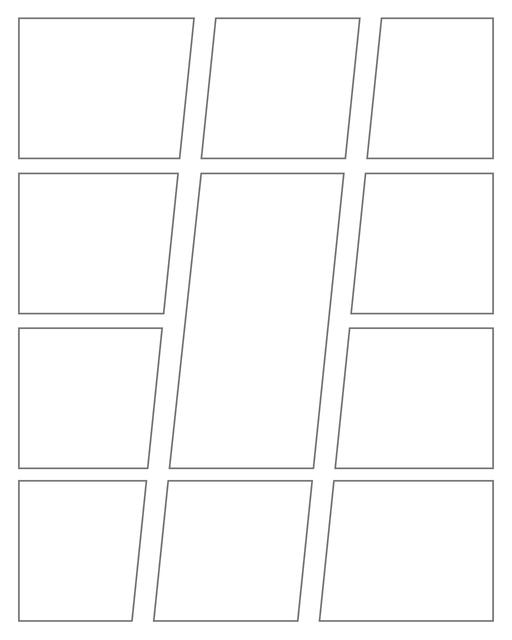 Comic strip template printables in PDF format for manga, newspaper or other styles. Panel 3 panel, 4 panel, 5 panel and more layouts in various styles, including with speech bubbles. Geometric Panels 11 Panels