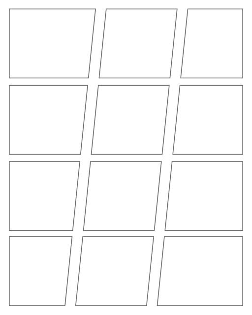 Comic strip template printables in PDF format for manga, newspaper or other styles. Panel 3 panel, 4 panel, 5 panel and more layouts in various styles, including with speech bubbles. Geometric Panels 12 Panels