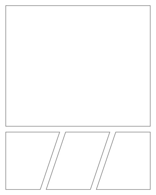 Comic strip template printables in PDF format for manga, newspaper or other styles. Panel 3 panel, 4 panel, 5 panel and more layouts in various styles, including with speech bubbles. Geometric Panels 4 Panels