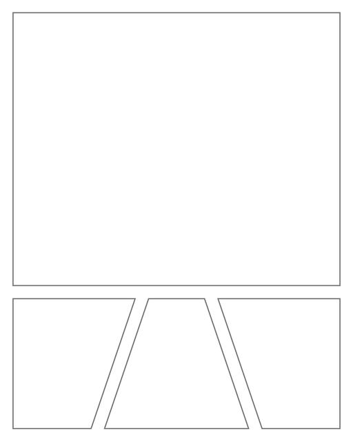 Comic strip template printables in PDF format for manga, newspaper or other styles. Panel 3 panel, 4 panel, 5 panel and more layouts in various styles, including with speech bubbles. Geometric Panels 4 Panels V2