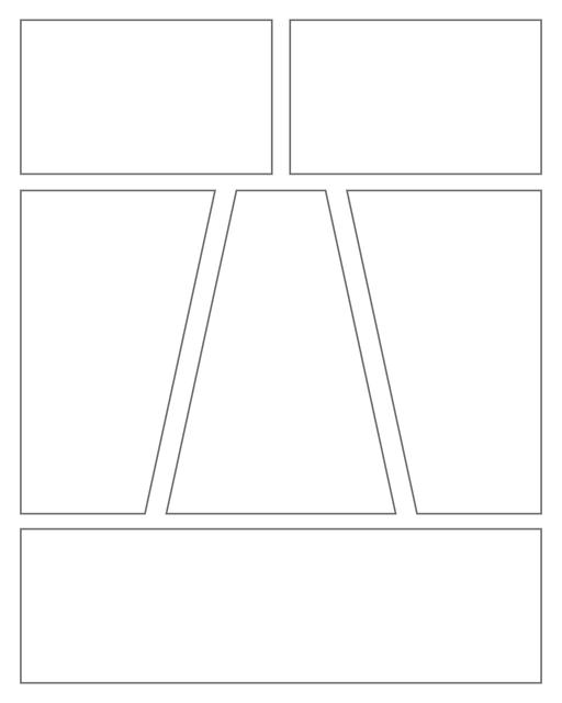 Comic strip template printables in PDF format for manga, newspaper or other styles. Panel 3 panel, 4 panel, 5 panel and more layouts in various styles, including with speech bubbles. Geometric Panels 6 Panels