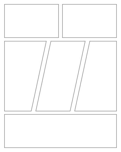 Comic strip template printables in PDF format for manga, newspaper or other styles. Panel 3 panel, 4 panel, 5 panel and more layouts in various styles, including with speech bubbles. Geometric Panels 6 Panels V2