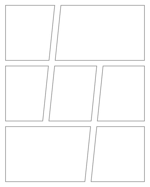 Comic strip template printables in PDF format for manga, newspaper or other styles. Panel 3 panel, 4 panel, 5 panel and more layouts in various styles, including with speech bubbles. Geometric Panels 7 Panels