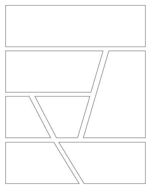 Comic strip template printables in PDF format for manga, newspaper or other styles. Panel 3 panel, 4 panel, 5 panel and more layouts in various styles, including with speech bubbles. Geometric Panels 7 Panels V2