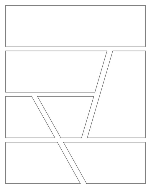 Comic strip template printables in PDF format for manga, newspaper or other styles. Panel 3 panel, 4 panel, 5 panel and more layouts in various styles, including with speech bubbles. Geometric Panels 7 Panels V3